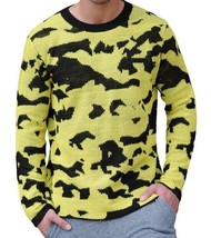 NWT $90 Cheap Monday Moe Overdye Crew Neck Sweater in Yellow & Black Cam... - $44.54