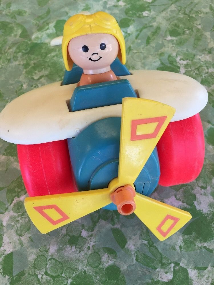 Fisher Price Toy Helicopter 171 M2 USA 1980 Clicks Sturdy Push Pilot