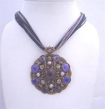 Multi String Enamel Pendant Colors of Blue & Purple Shades Necklace - $16.63