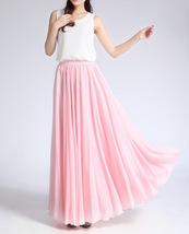 Pink MAXI CHIFFON SKIRT Women High Waisted Chiffon Maxi Skirt Plus Size image 3