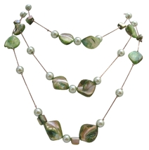 Green Mother Shell w/ Synthetic Pearl 3 Stranded Long Necklace 28 Inch - $14.29