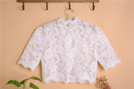 Button Down Short Sleeve Lace Tops Boho Wedding Crop Lace Top WD163 image 2