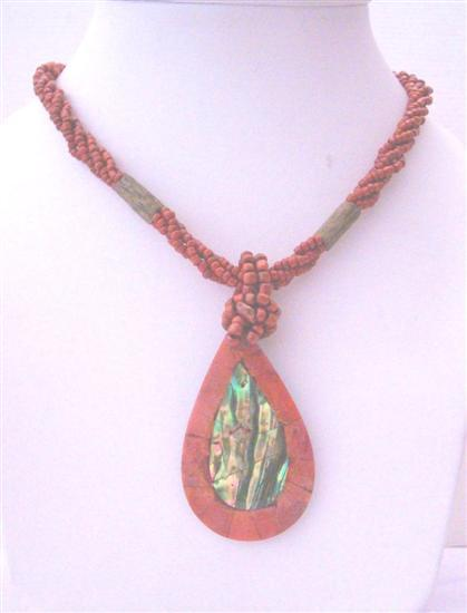 Red Multi Strand Beaded Necklace Abalone Teardrop Embedded Coral Stone