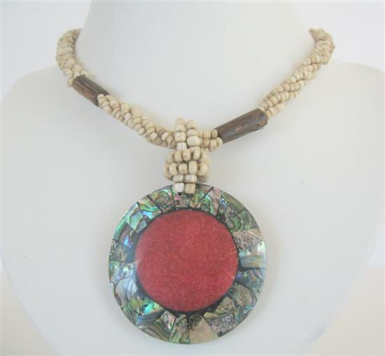 Cream Beaded Necklace Button Clasp Abalone Round Pendant Coral Stone