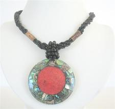 Black Beaded Necklace Button Clasp Abalone Round Pendant Coral Stone - $14.68