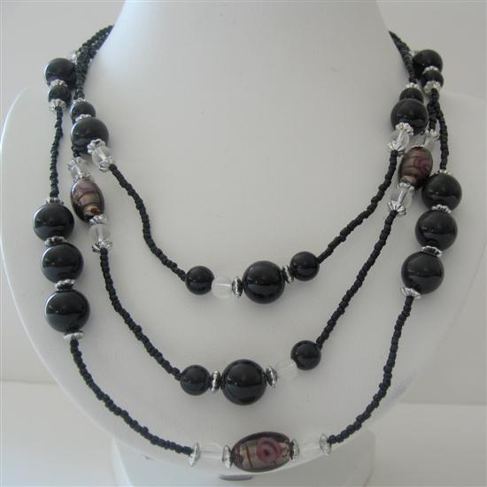 Black Pearl Three Stranded Beaded Necklace Millefiori Painted Beads