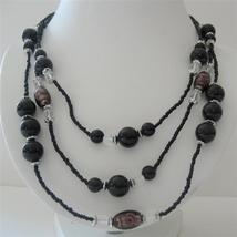 Black Pearl Three Stranded Beaded Necklace Millefiori Painted Beads - $14.68