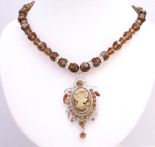 Smoked Topaz Crystals Round Crystals Necklace w/ Cameo Pendant - $128.43