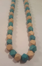 Teal and wood beaded necklace handmade - $5.00