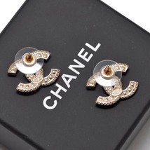 AUTHENTIC CHANEL XL LARGE CRYSTAL CC LOGO STUD GOLD EARRINGS  image 4