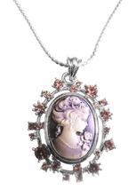 Amethyst Cameo Lady Pendant Sparkling Amethyst Crystals Necklace - $24.43
