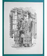PORTUGAL Belem Church of Santa Maria Doorway - 1877 Wood Engraving Illus... - $8.09