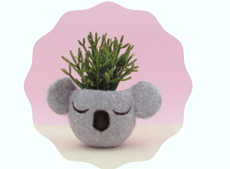 Planter / Koala head planter / Small succulent pot / Felt succulent planter /