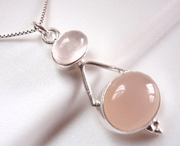 Rose Quartz Double Gem Oval 925 Sterling Silver Pendant New Imported from India - $15.83