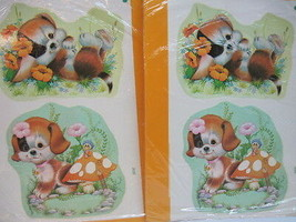 DecalArt Water Applied Decals Puppies 4 Vintage Extra Large Wood Glass S... - $29.65