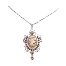 Victorian Lady Cameo Pendant w/ Austrian Smoked Topaz Crystal Necklace - $24.43