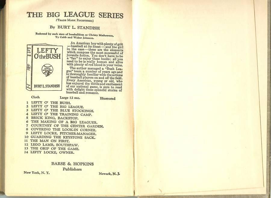 lefty locke pitcher manager baseball book burt l standish 1916 first edition rar