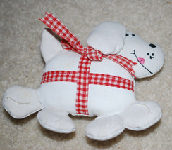 """Fabric White Dog Puppy Vintage Christmas Ornament Holiday Decoration 4"""" - $8.86"""