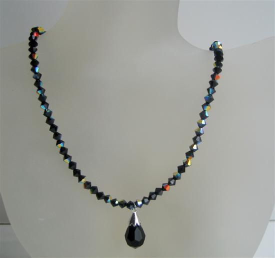 Jet Black Swarovski Beaded Jewelry AB Jet Crystal Tear Drop Necklace - $32.88