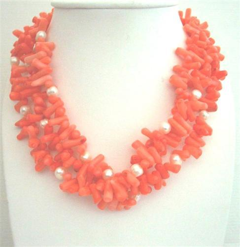 Coral Natural Skin Nugget Beaded Necklace Multi 3 Strands Necklace