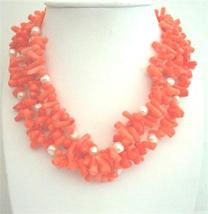 Coral Natural Skin Nugget Beaded Necklace Multi 3 Strands Necklace - $27.03
