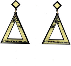 Fashion Jewelry Girls Big Triangle Acrylic Gold Party Stud Earring For W... - $33.16