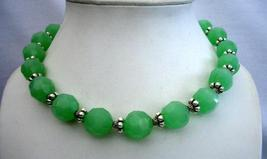 Handcrafted Artisan Designed Multi Faceted Green Agate Bead Necklace - $31.58