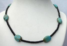 Custom Jewelry Onyx Tube Beads Flat Autumn Turquoise Bead Necklace - $25.73