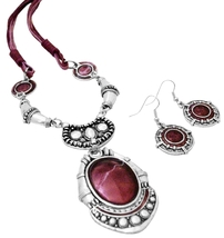 Enamel Ruby Painted Ethnic Artform Pendant & Earrings Set - $21.18
