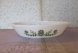 Vintage Glasbake Divided Casserole with Olive Green Daisies Spring Blossom Crazy - $10.00