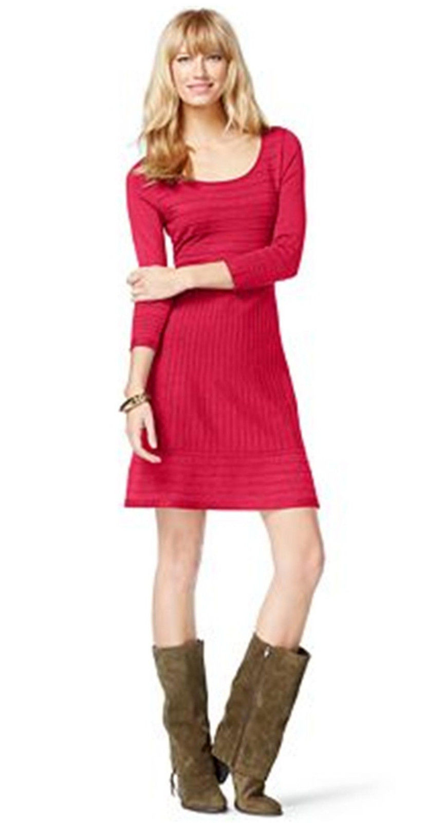 INC International Concepts A-Line Striped Ottoman Knit Sweater Fushia Dress M