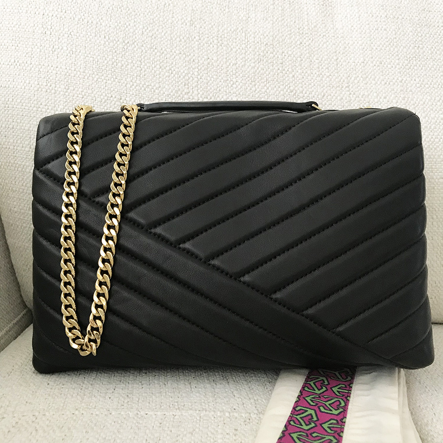Tory Burch Kira Chevron Quilted Leather Shoulder Bag in Black image 4