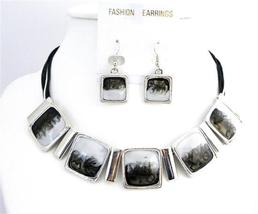 Classic White & Black Enamel Shaded Square Pendants Choker Set Jewelry - $21.83