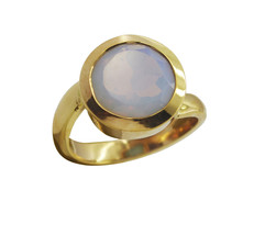 fine-looking Fire Opal CZ Gold Plated White Ring Natural gemstones US gift - $24.99
