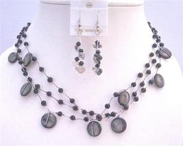 Three Stranded Necklace Set w/ Black Shell Fancy Onyx Beads Onyx Nugge - $21.18