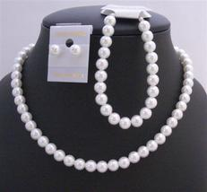 Pure White Soothing Synthetic White Pearl Wedding Jewelry Set White Pe - $20.53