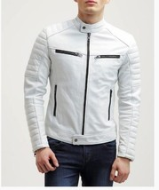 Mens White Fashion Leather Jacket Cowhide Men Leather Jacket Quilted Sleeves - $118.60+