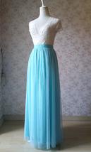 Blue Tulle Maxi Skirt Full Length Tulle Skirt Blue Themed Wedding Skirt Outfit image 2