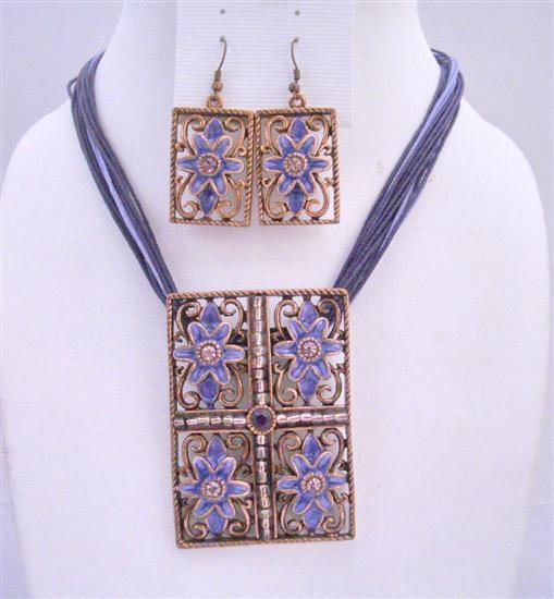 Purple Multi Stranded Necklace Set w/ Rectangle Pendant Purple Enamel