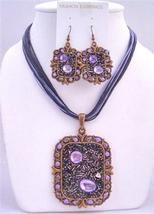 Fabulous Sequare Copper Pendant Jewelry Set & Simulated Crystal Neckla - $20.55