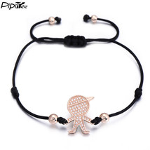 (rose gold boy black) PiPitree CZ Boys and Girls Charm Bracelet for Wome... - $20.00