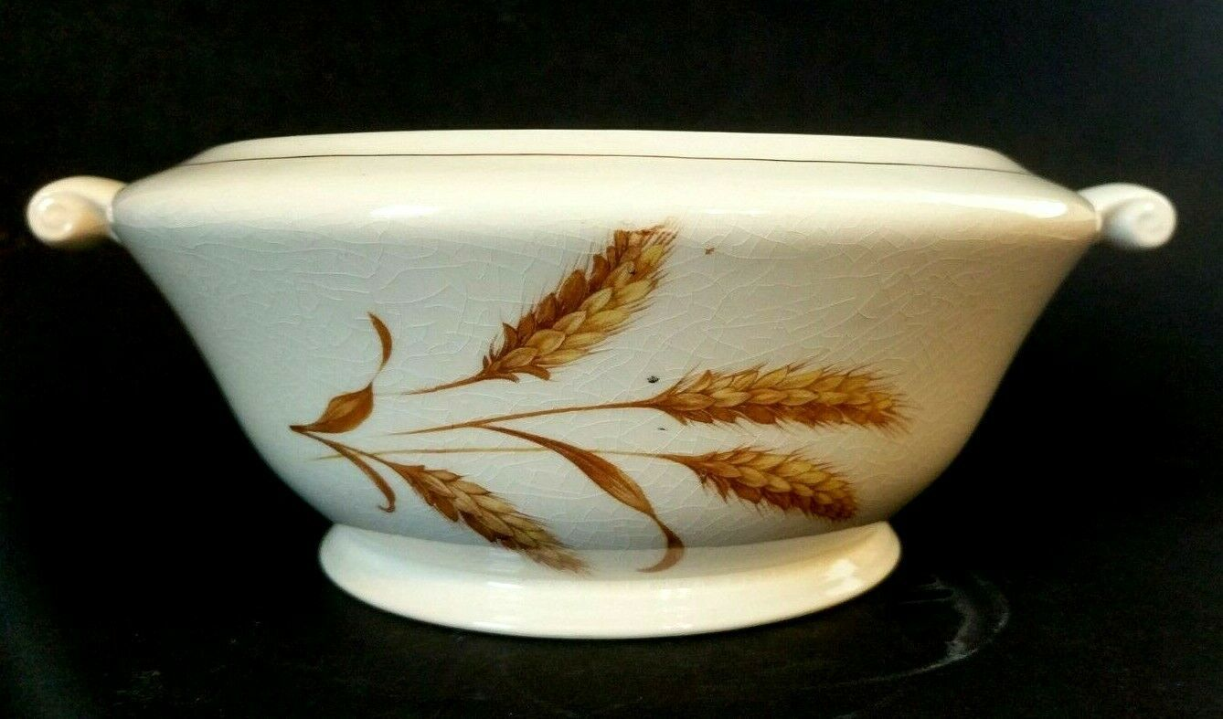 Knowles Golden Wheat Vegetable, Gold Accents, Scroll Handle, No Lid, USA 50-10 - $22.28