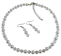 Exclusive Fashionable Bridesmaid Jewelry Clear Crystals & White Pearls - $12.08