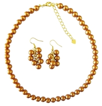 Gold Necklce Set With Golden Pearls Affordable Bridal BridesmaidHandma - $13.38