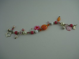 "HANDCRAFTED ARTISAN BRACELET LAMPWORK BEADS CRYSTALS PEARLS PINK SIZE 7.5"" - $14.80"