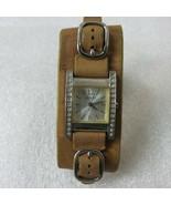 Vintage 90s Guess Wristwatch Wide Leather Bund Band G85645L Quartz Analo... - $69.25