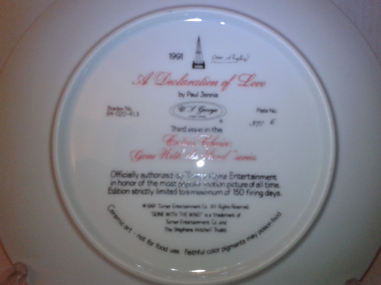 1991 A Declaration Of Love -  Gone With The Wind Plate #3