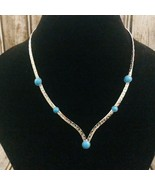 Vintage Sarah Coventry 1976 Summer Skies Faux Turquoise Necklace Silber  - $34.64