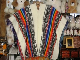 Typical peruvian white Poncho made of Alpacawool    - $98.10