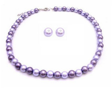 Affordable Inexpensive Pearl Wedding Jewelry Lilac & Purple Stud Earri - $14.03